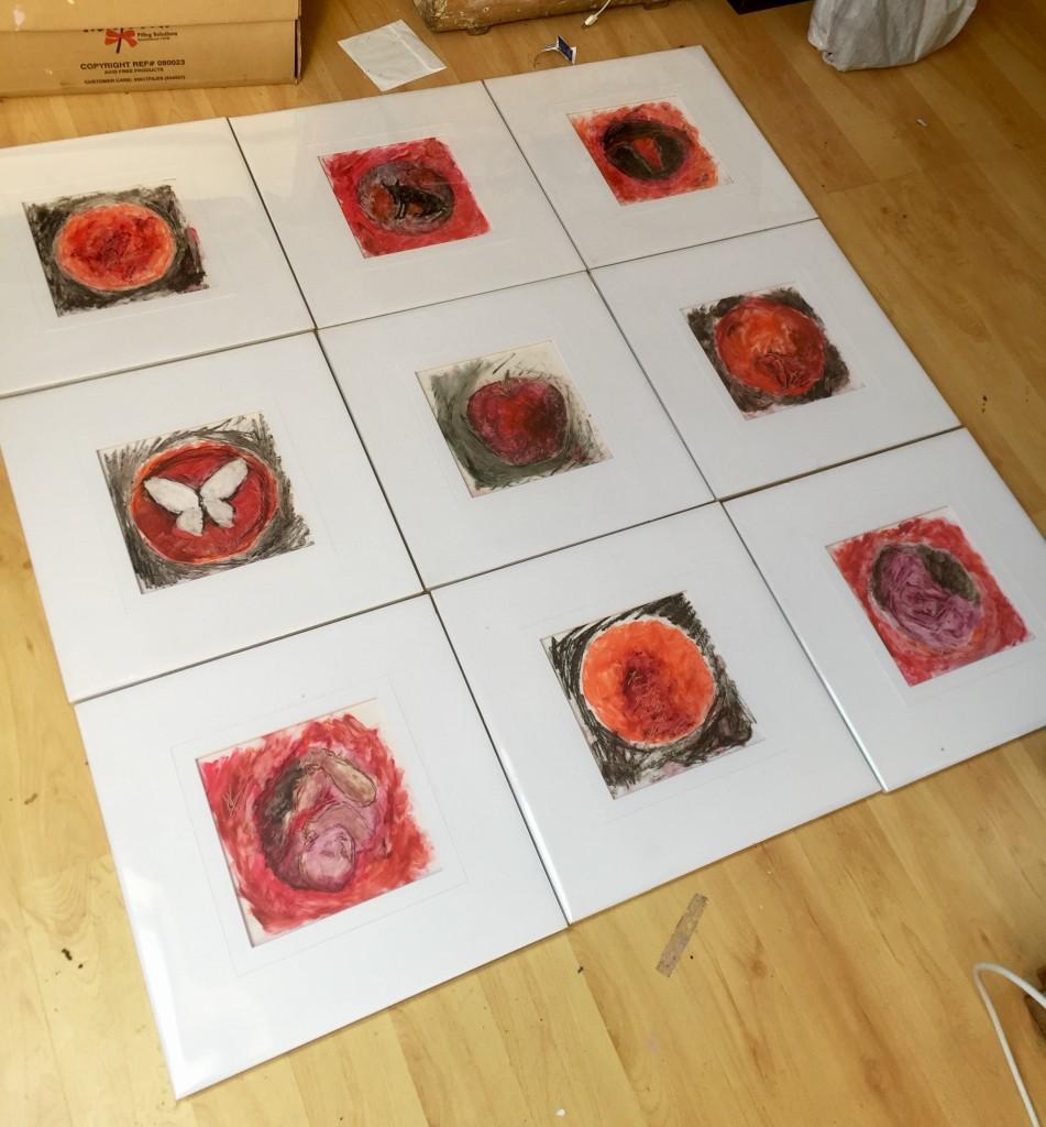 All nine paintings